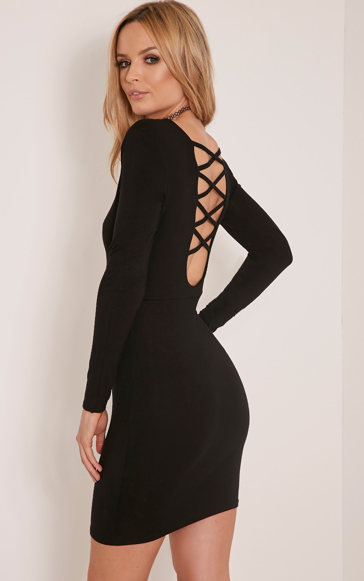 Marcy Black Strappy Back Long Sleeve Bodycon dress 1