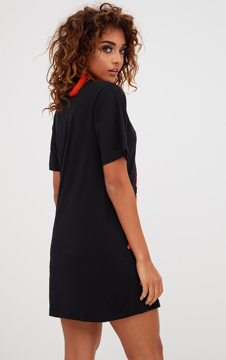 Black Contrast Stitch T Shirt Dress 2