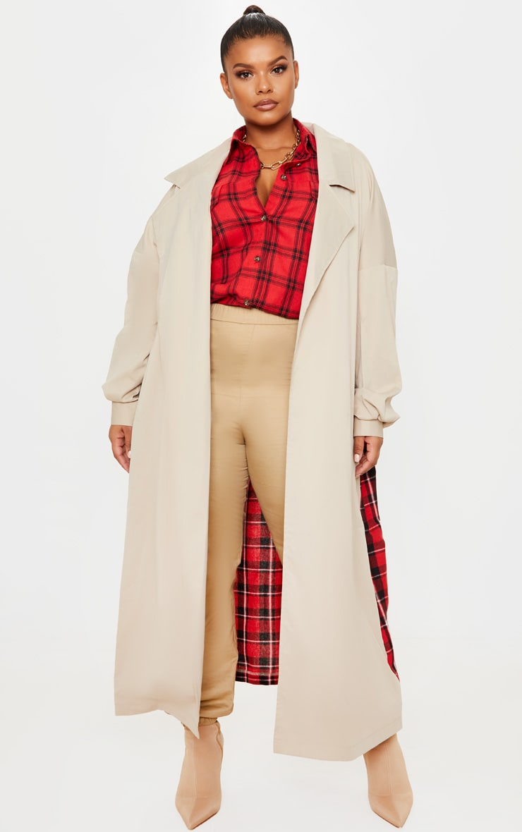 Plus Stone Contrast Panel Trench Coat 2