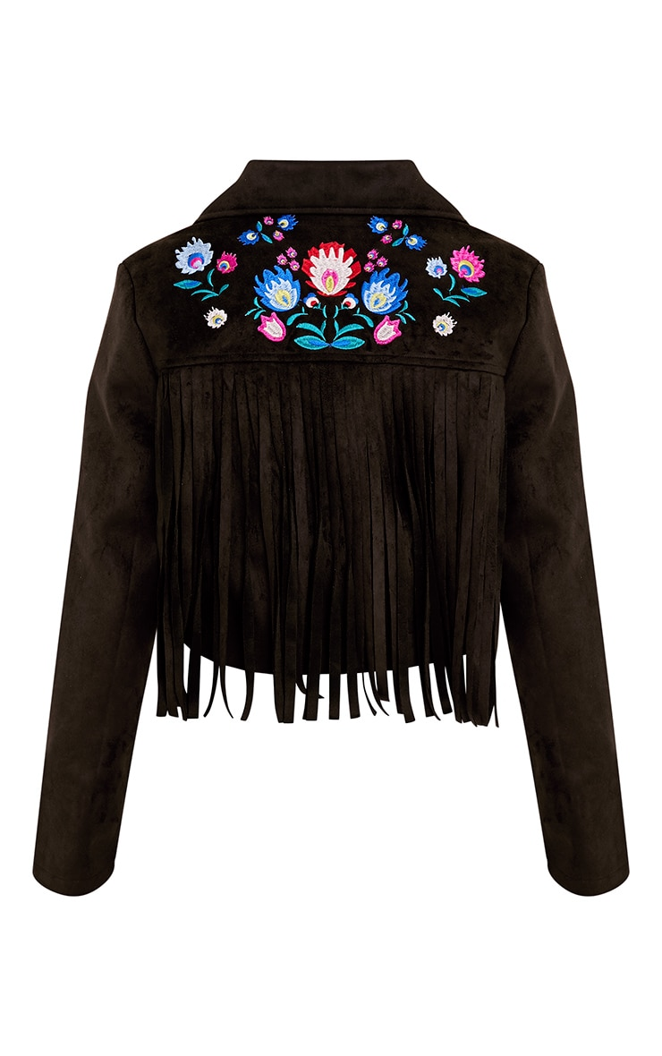 Shilla Black Faux Suede Embroidered Detail Biker 4