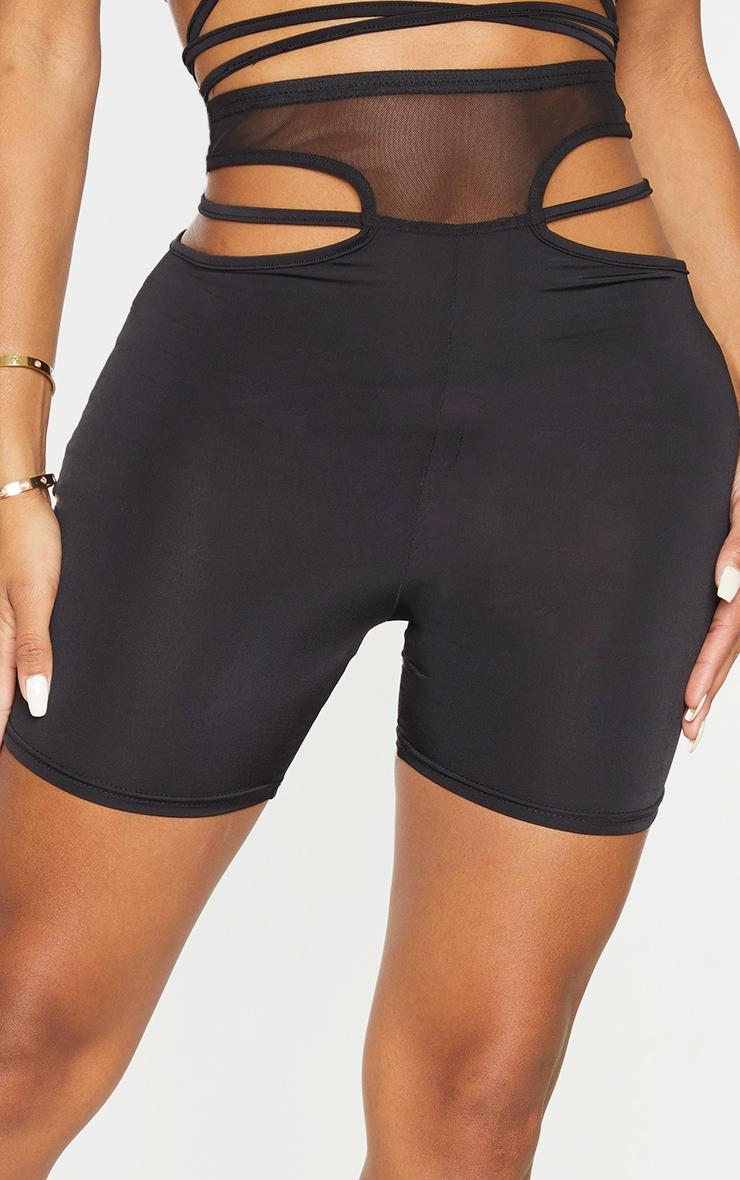 Shape Black Mesh Insert Cut Out Side Bike Shorts 5