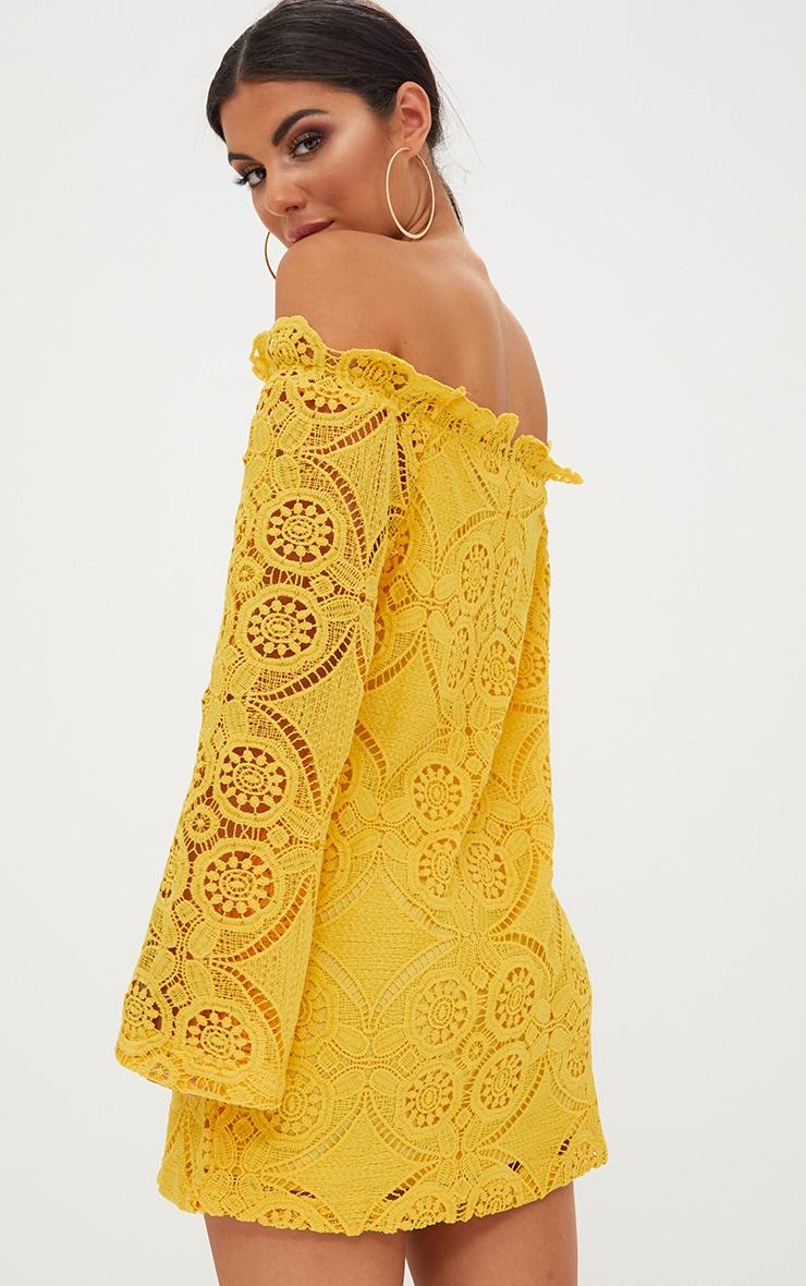 Gracie Yellow Bardot Lace Swing Dress 2