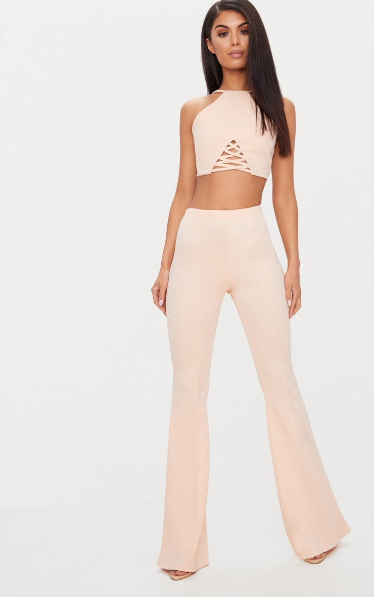 Nude Crepe Lace Up Detail High Neck Crop Top 4