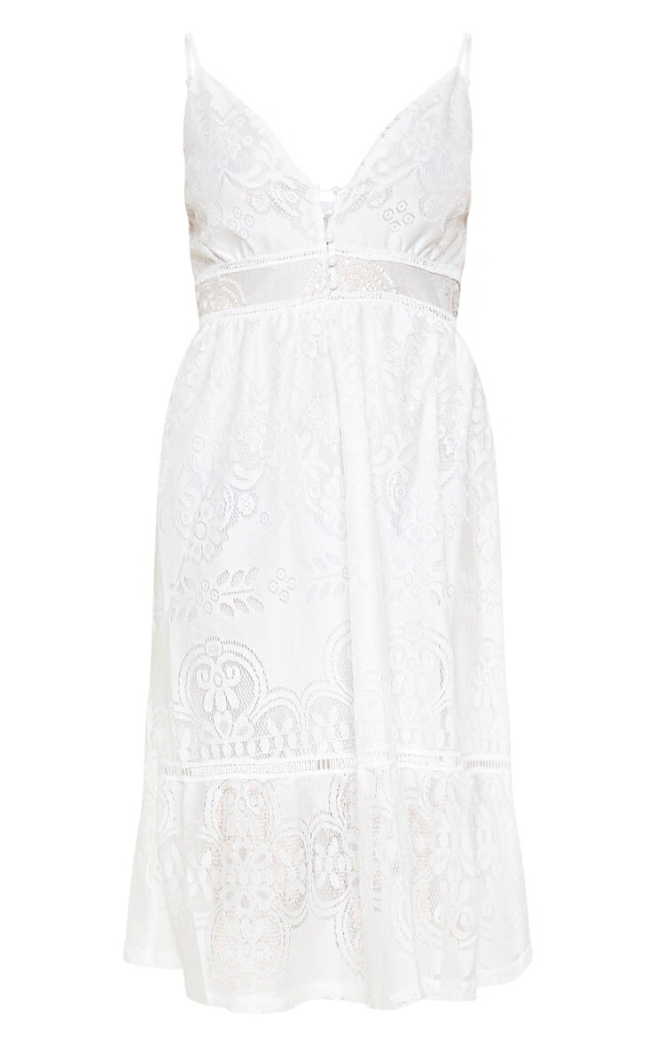 White Lace Button Through Midi Dress 3