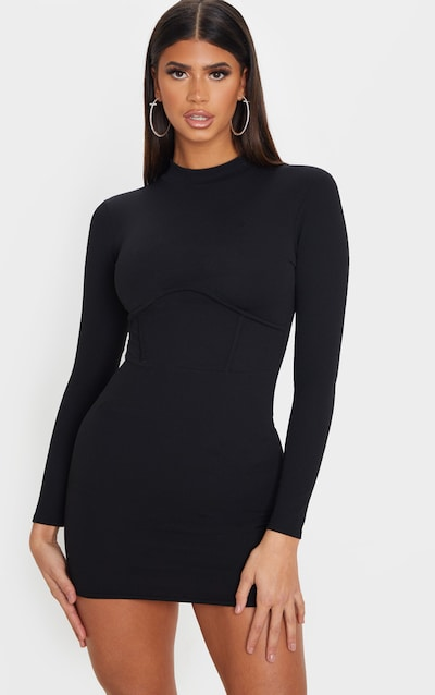 Black High Neck Binding Detail Bodycon Dress