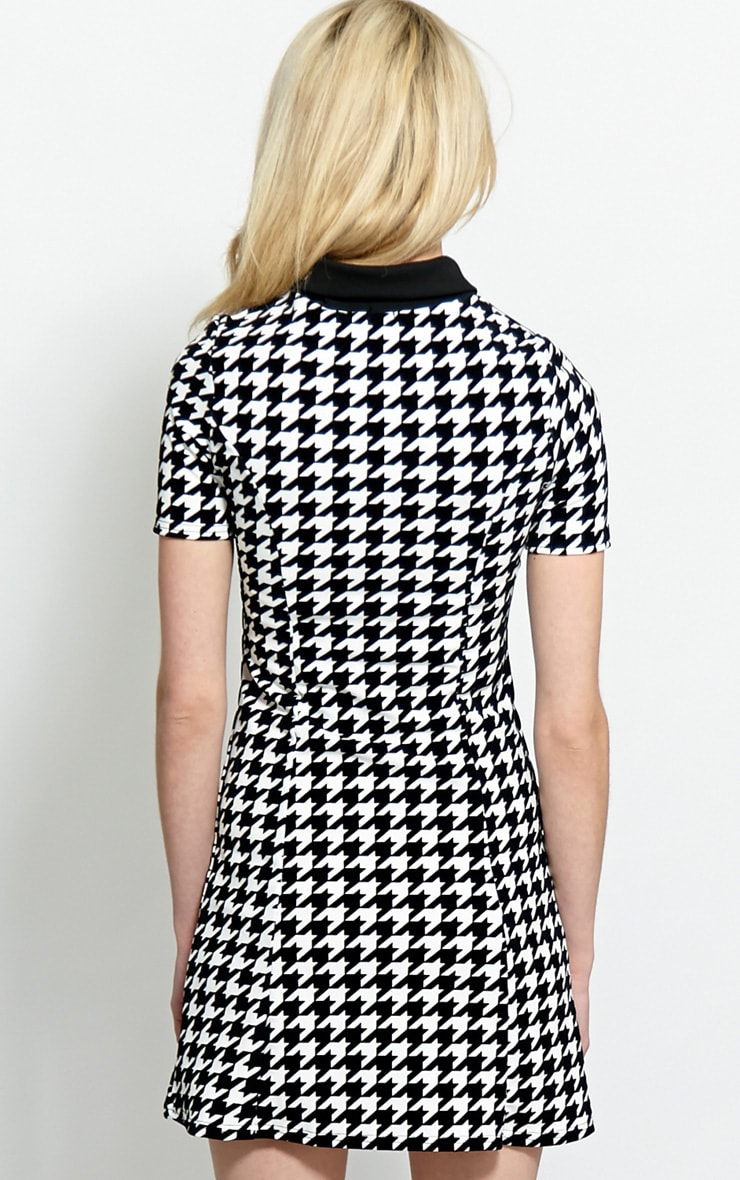 Naomi Black & White Dogstooth Collar Dress 2