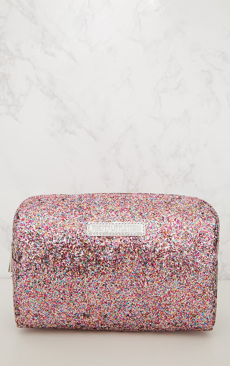 PRETTYLITTLETHING Multi Coloured Glitter Make Up Bag 3