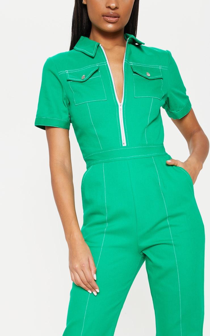 Green Zip Front Contrast Stitch Jumpsuit 5