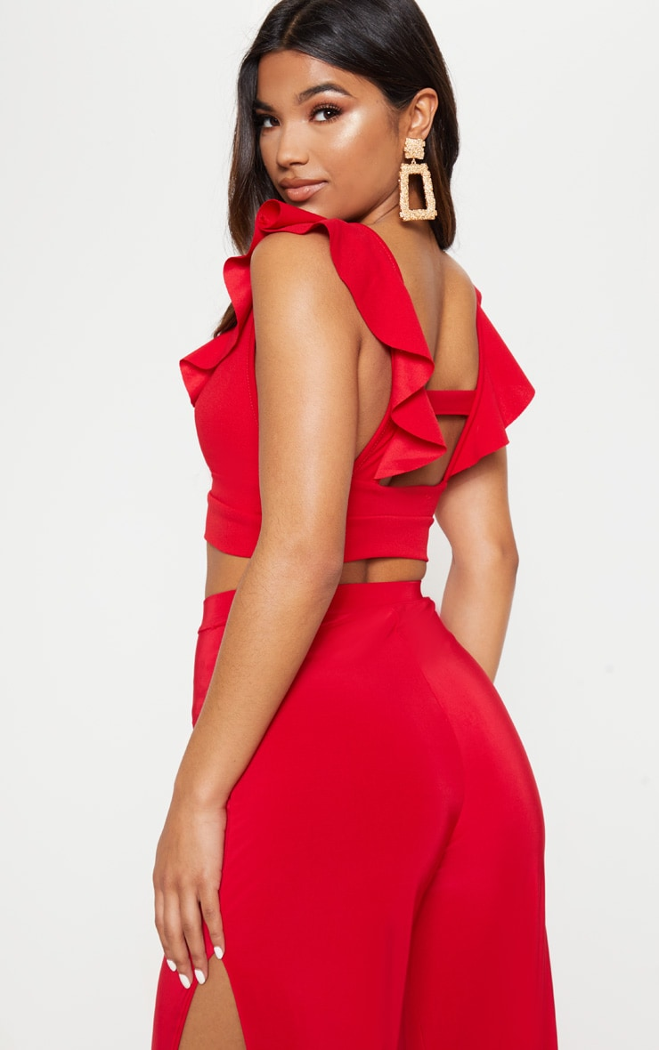 Red Frill Edge Plunge Crop Top  2