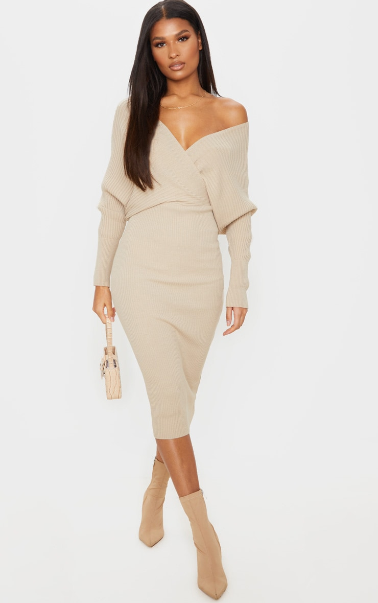 Stone Wrap Off The Shoulder Midi Dress 1