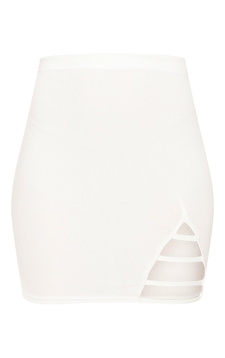 Cream Ladder Detail Mini Skirt  3