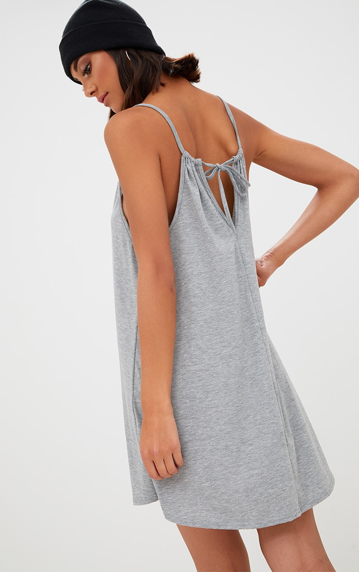 Grey Marl Ruched Halterneck Shift Dress 2