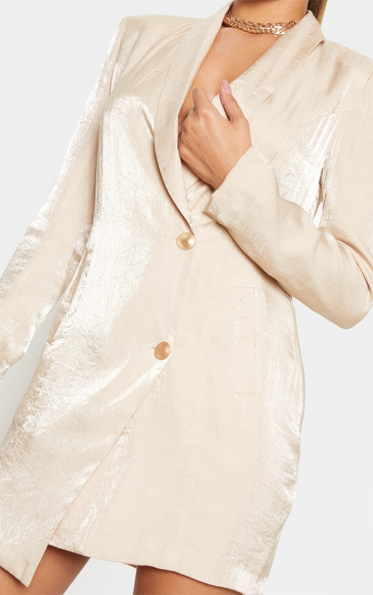 Champagne Pleated Shimmer Gold Button Blazer Dress 5