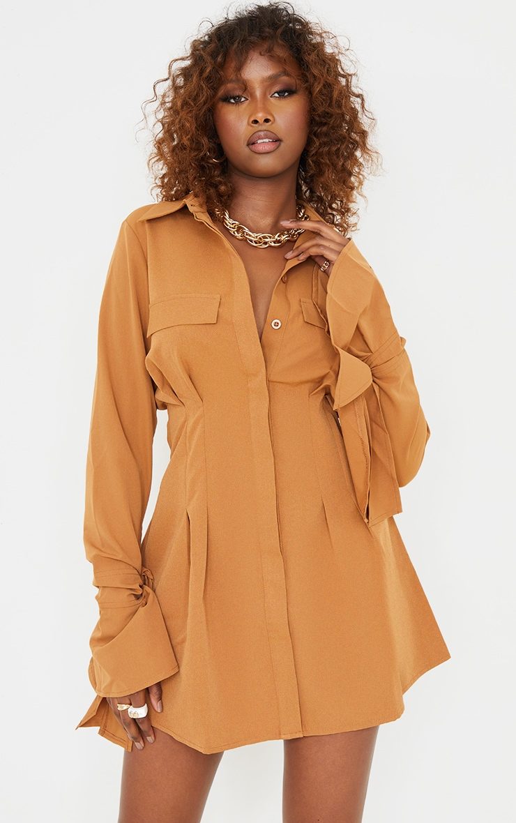 Camel Tie Cuff Detail Pleated Shirt Dress 3