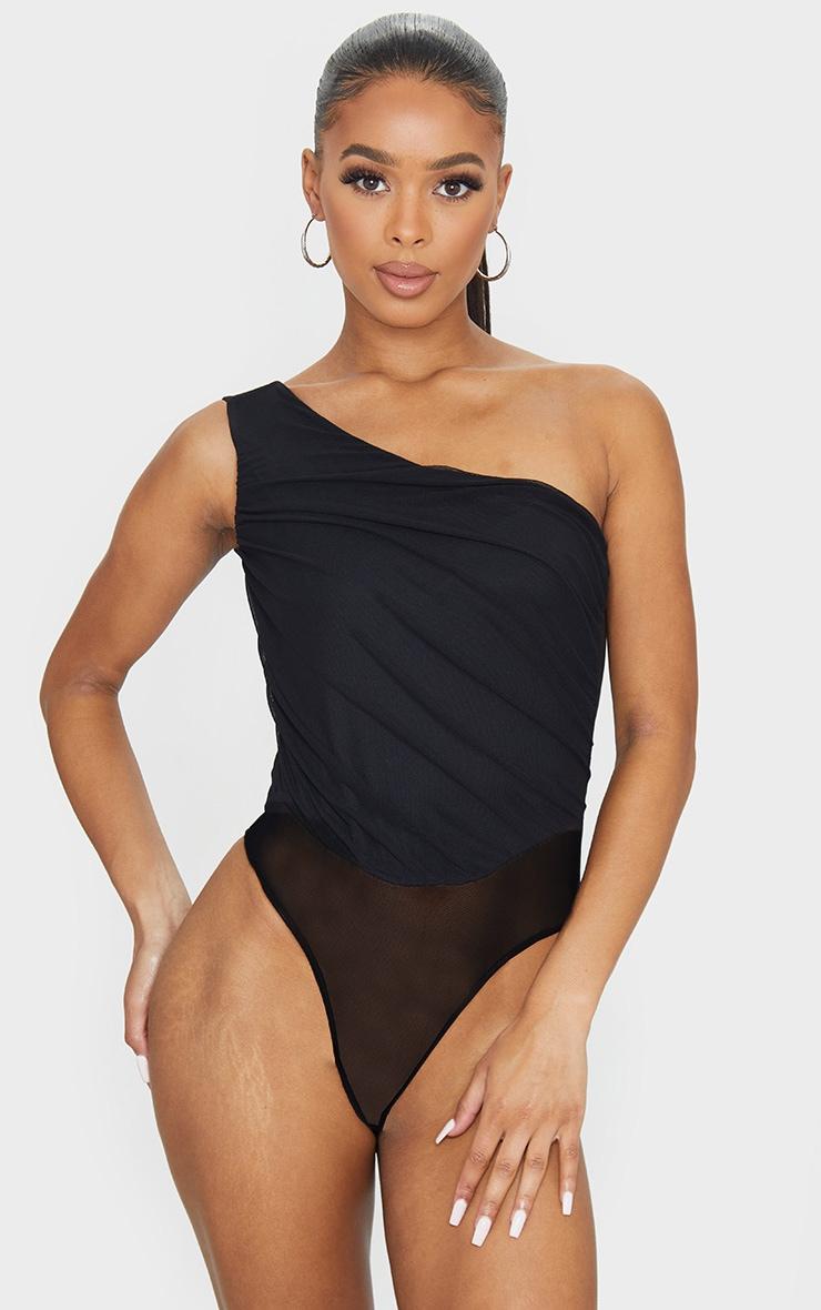 Black Slinky Ruched One Shoulder Bodysuit 2