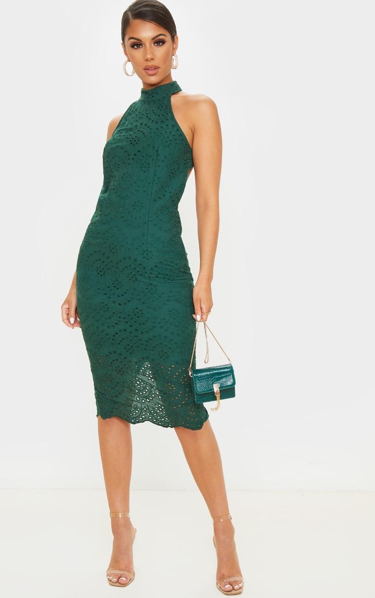 Robe mi-longue dos nu en dentelle vert émeraude 2