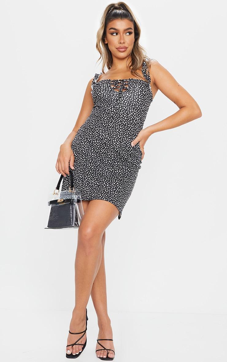Black Dalmatian Print Frill Detail Shift Dress 3