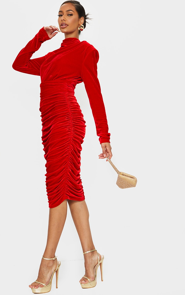 Red Velvet High Neck Draped Detail Midi Dress 3