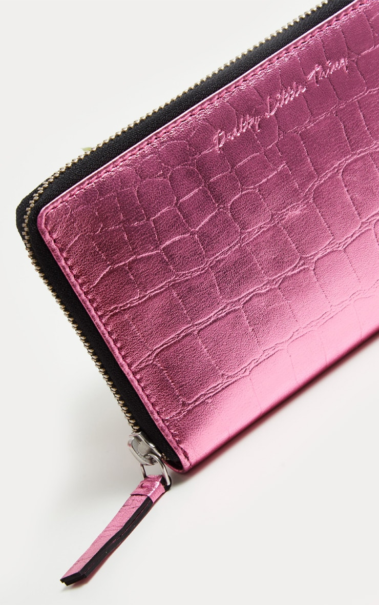 Pink Real Leather Croc Purse  3