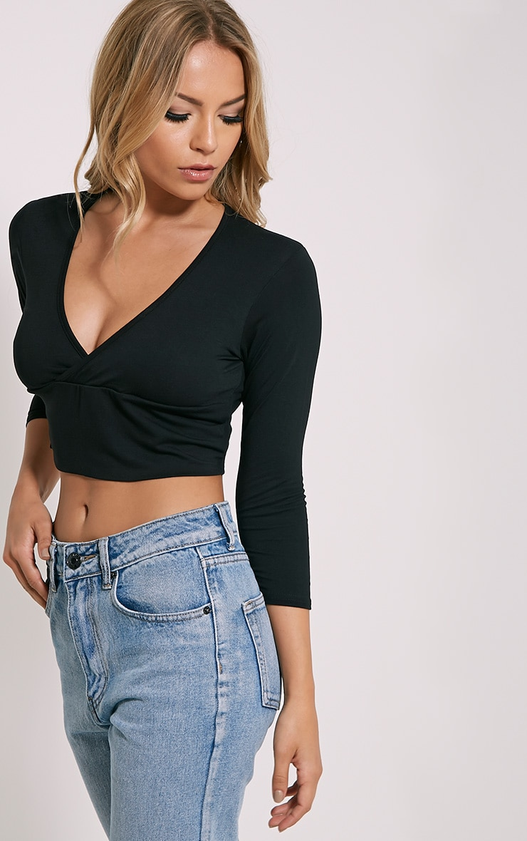 Basic Black Cross Over Jersey Crop Top 4