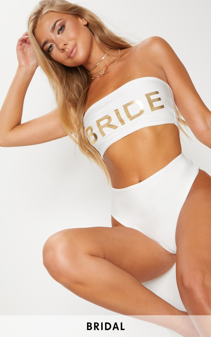 Bride Slogan White Bandeau Bikini Top
