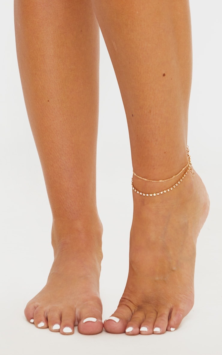 Gold Diamante Double Chain Anklet 2