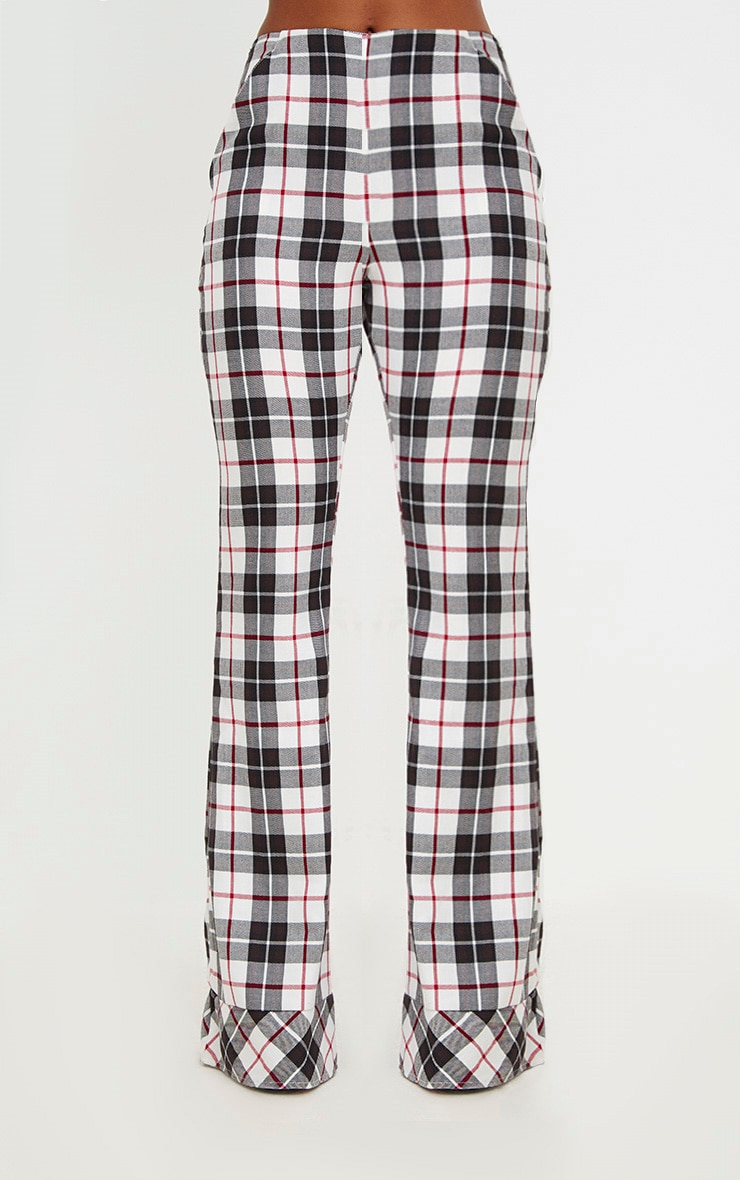 White Tartan Check Flare Trousers 2