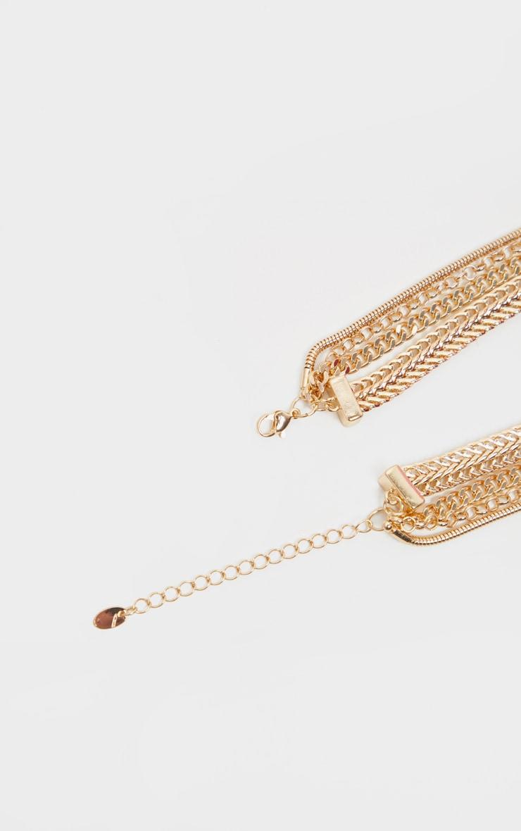 Collier doré à chaînes multiple cadenas et clé 4