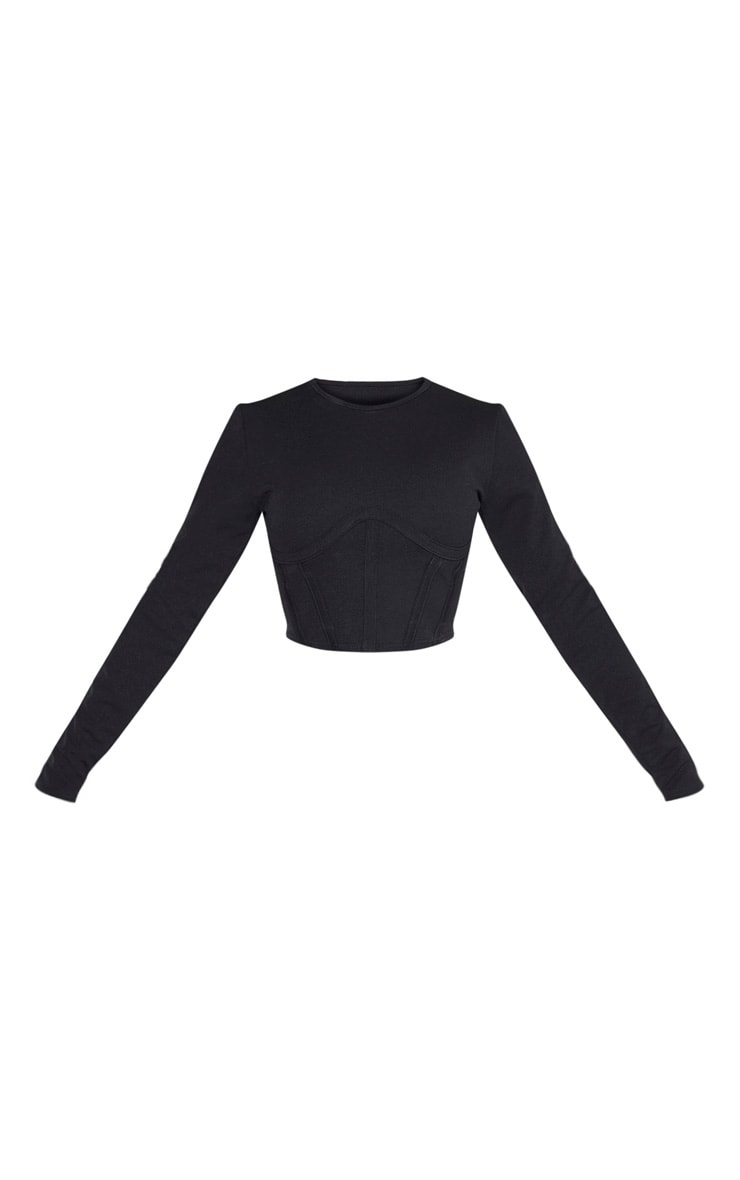 Black Crepe Structured Underbust Crop Top 1