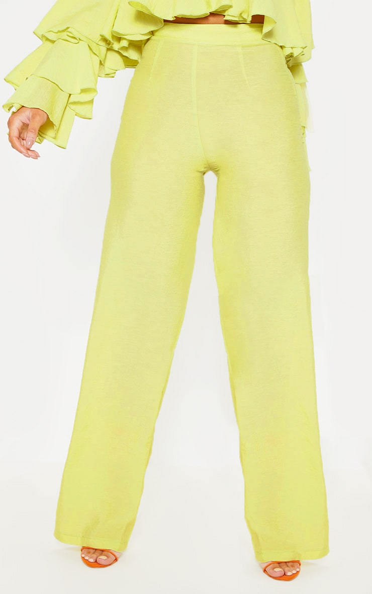 Lime Woven High Waisted Wide Leg Pants 2