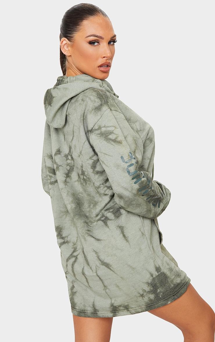 Khaki Worldwide Slogan Oversized Tie Dye Hoodie Sweat Sweater Dress 2