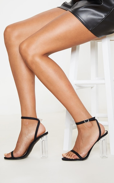 Black Lycra Clear Block Heel Sandal