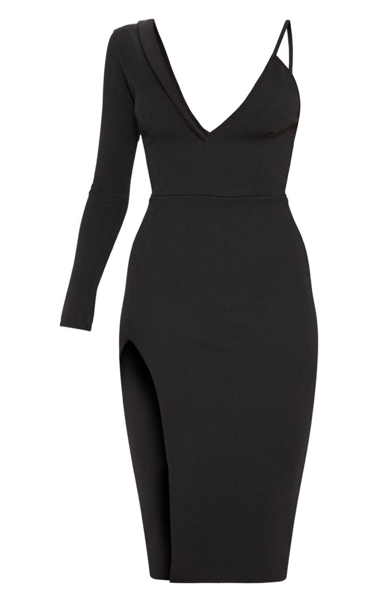 Black Asymmetric Tux Style Split Leg Midi Dress 3