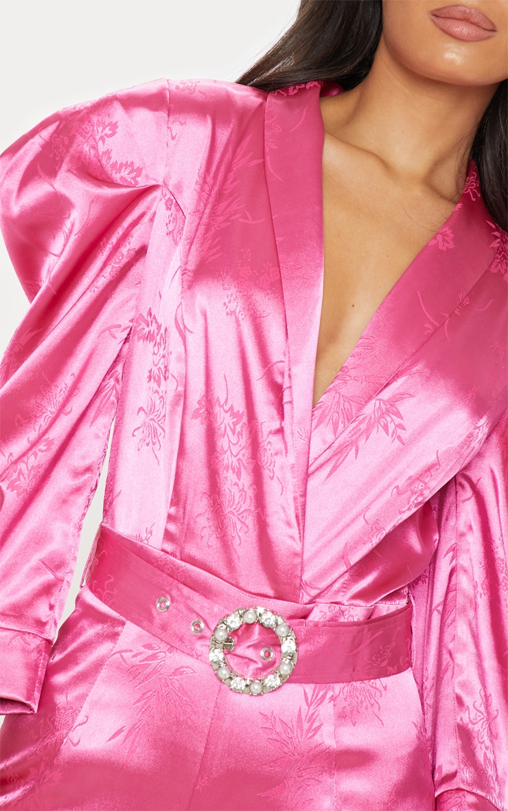 Hot Pink Belted Puff Sleeve Jumpsuit 5