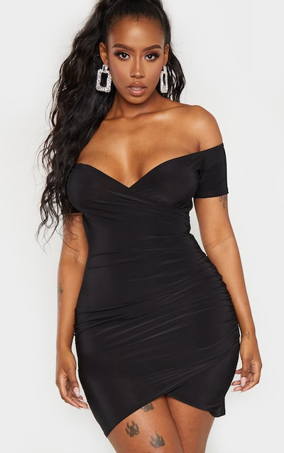95b4e1e4ab0de Shape Black Slinky Bardot Ruched Detail Bodycon Dress PrettyLittleThing  Sticker