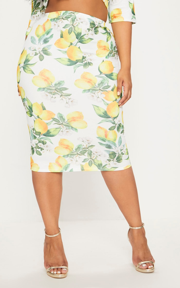 Plus White Lemon Print Midi Skirt 2