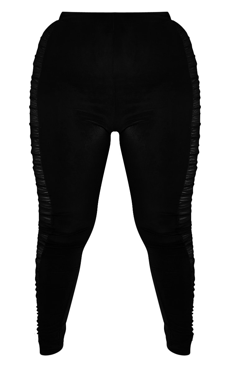 Plus Black Mesh Side Panel Leggings 5