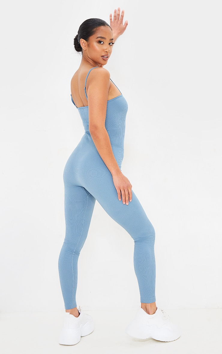 Petite Blue Strappy Structured Contour Ribbed Jumpsuit 2