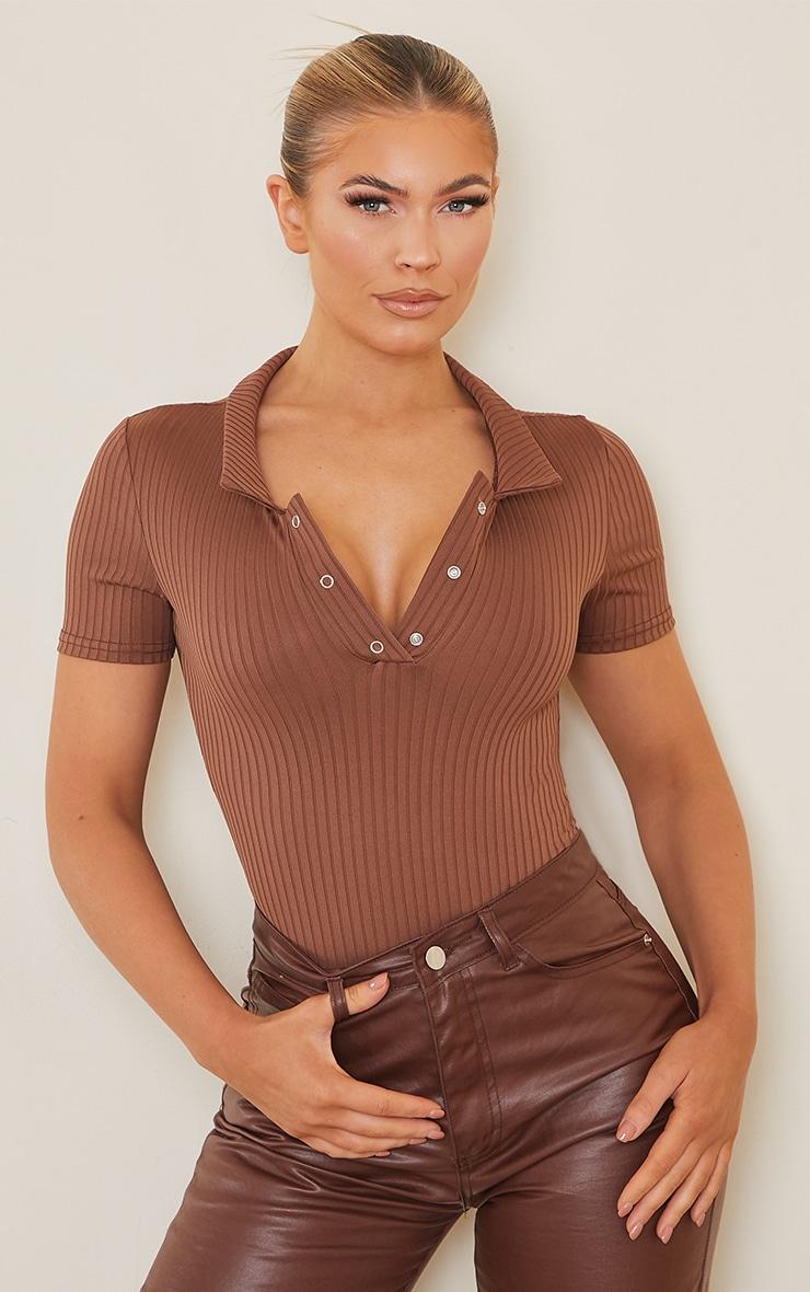 Chocolate Rib Polo Bodysuit 1
