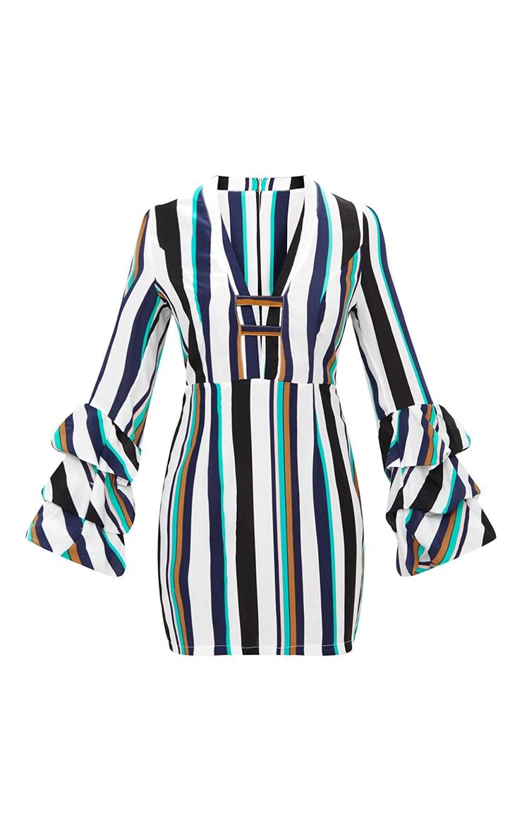 Green Striped Ruched Cuff Bodycon Dress 3