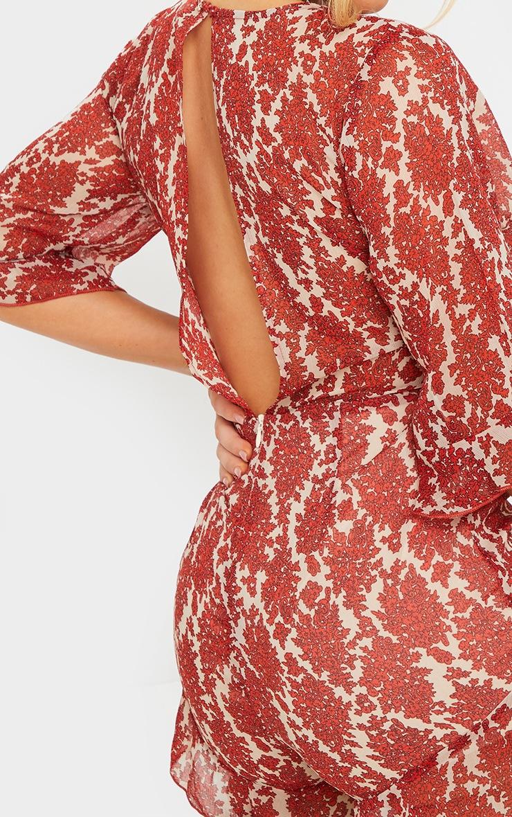 Rust Floral Print Chiffon Tie Waist Wrap Playsuit 4
