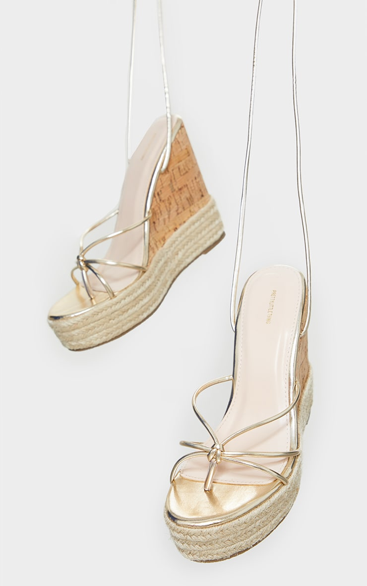 Gold Toe Thong Strappy Espadrille Wedges 3