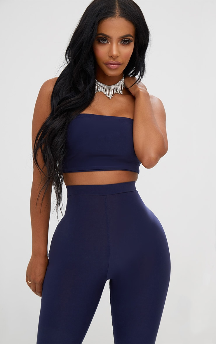 Shape - Crop top bandeau bleu marine 1