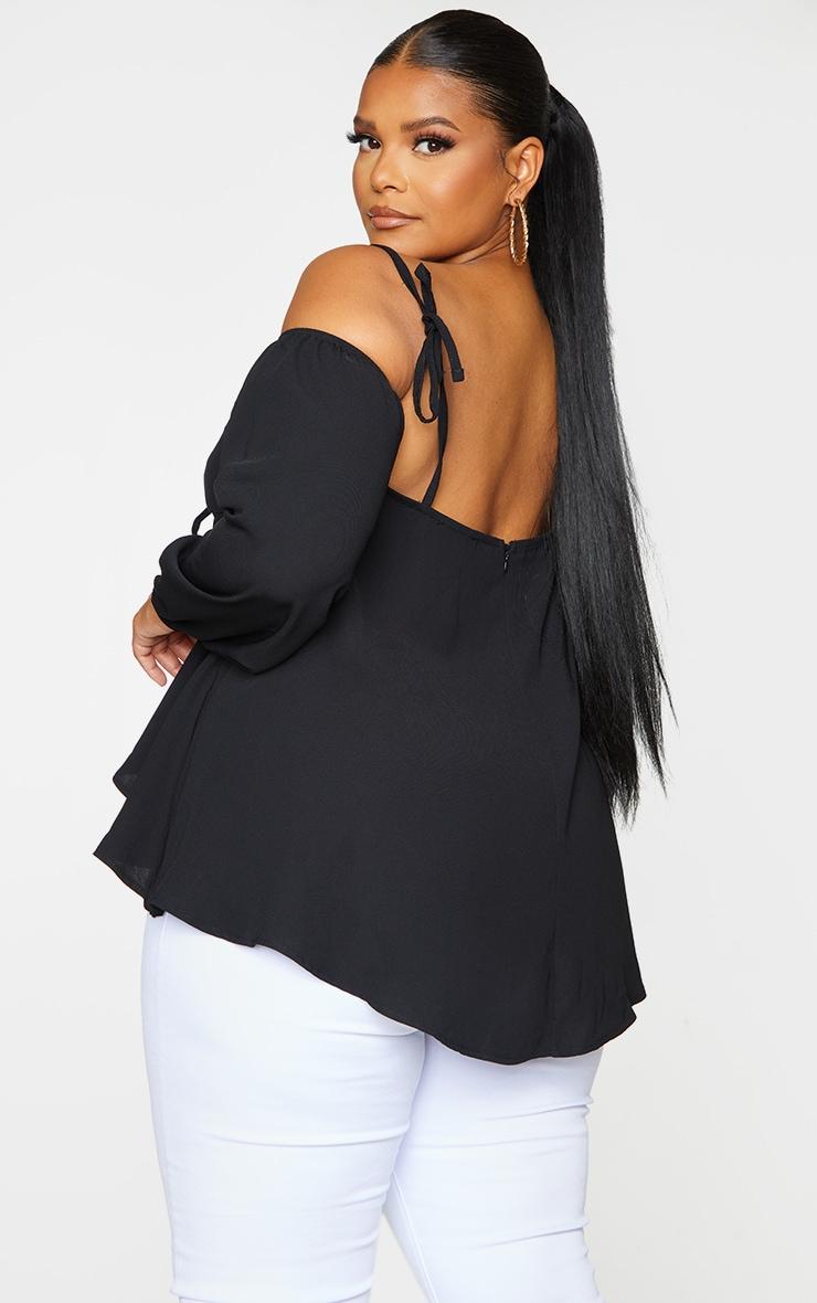 Plus Black Bardot Split Blouse 2