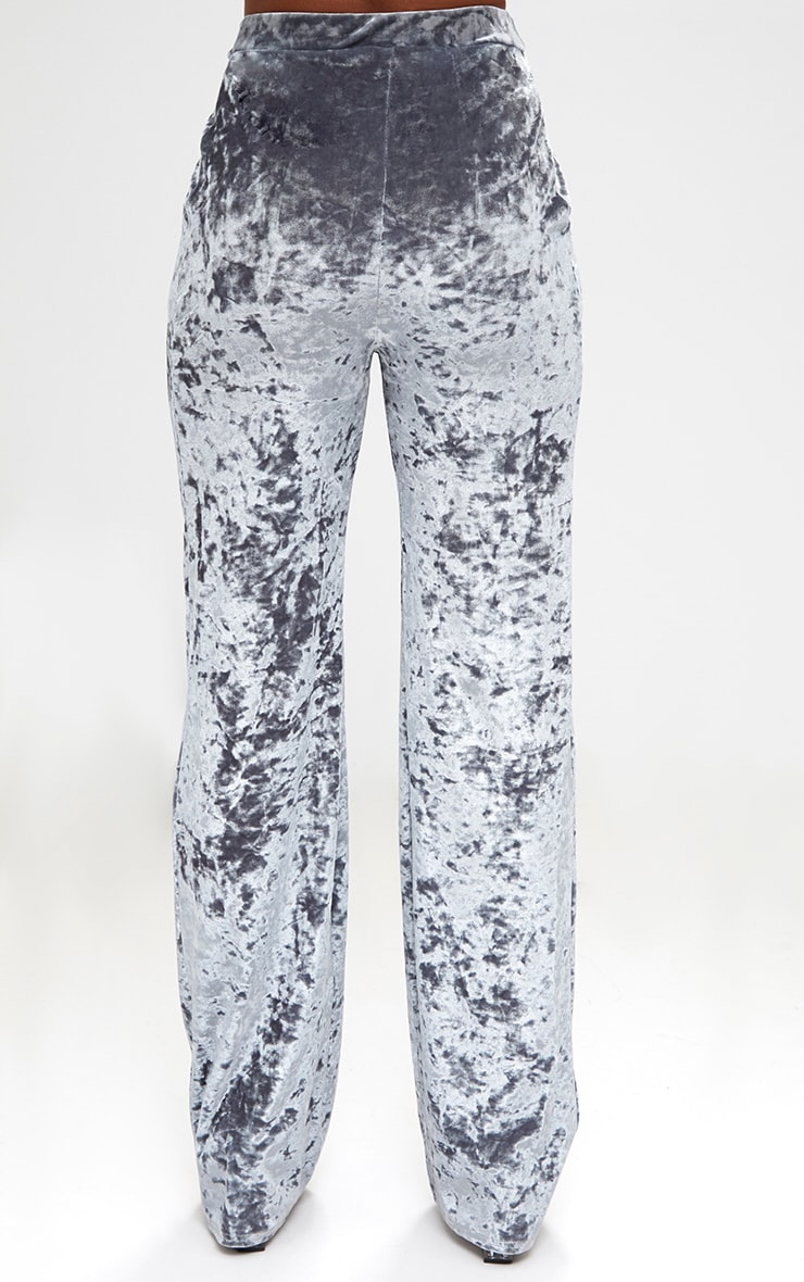 Silver Crushed Velvet Wide Leg Suit Trousers 4