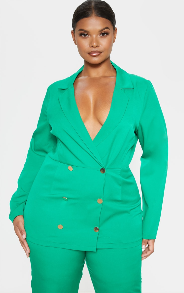 Plus Bright Green Gold Button Fitted Blazer  1