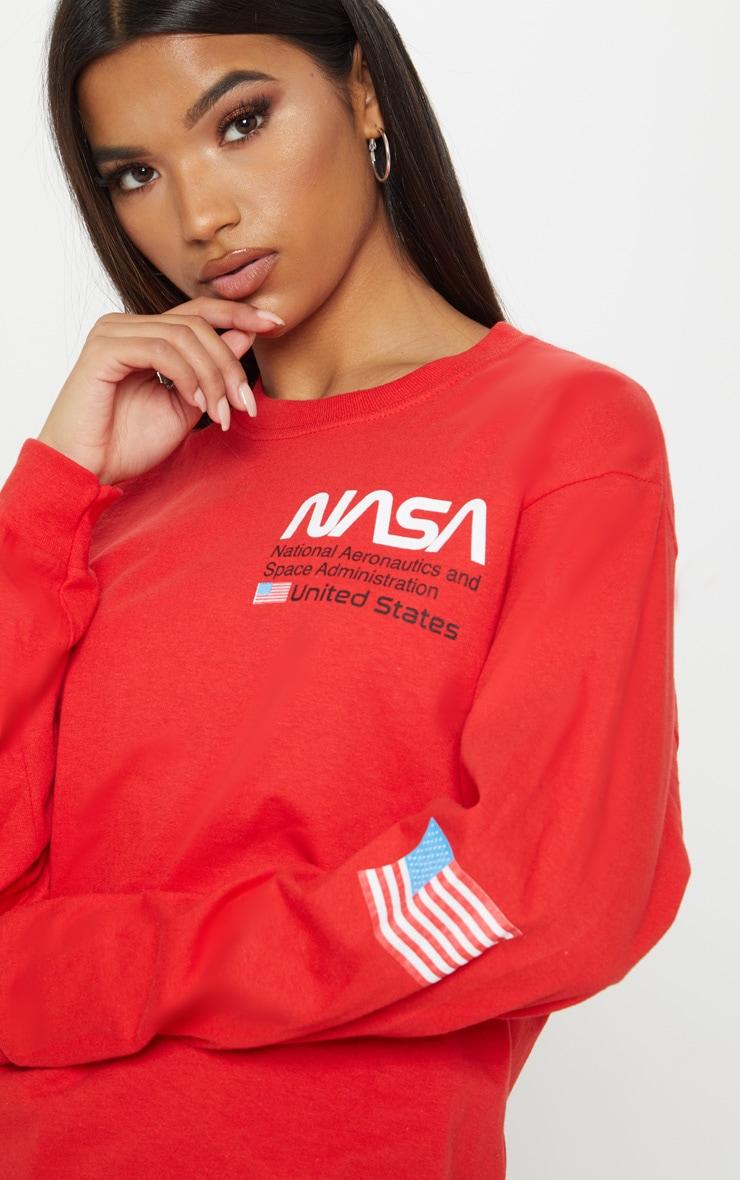 Red NASA Long Sleeve T shirt 5