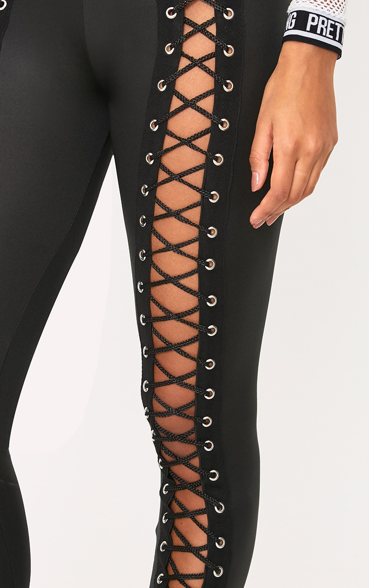 Black PU Eyelet Lace Up Skinny Trousers 5