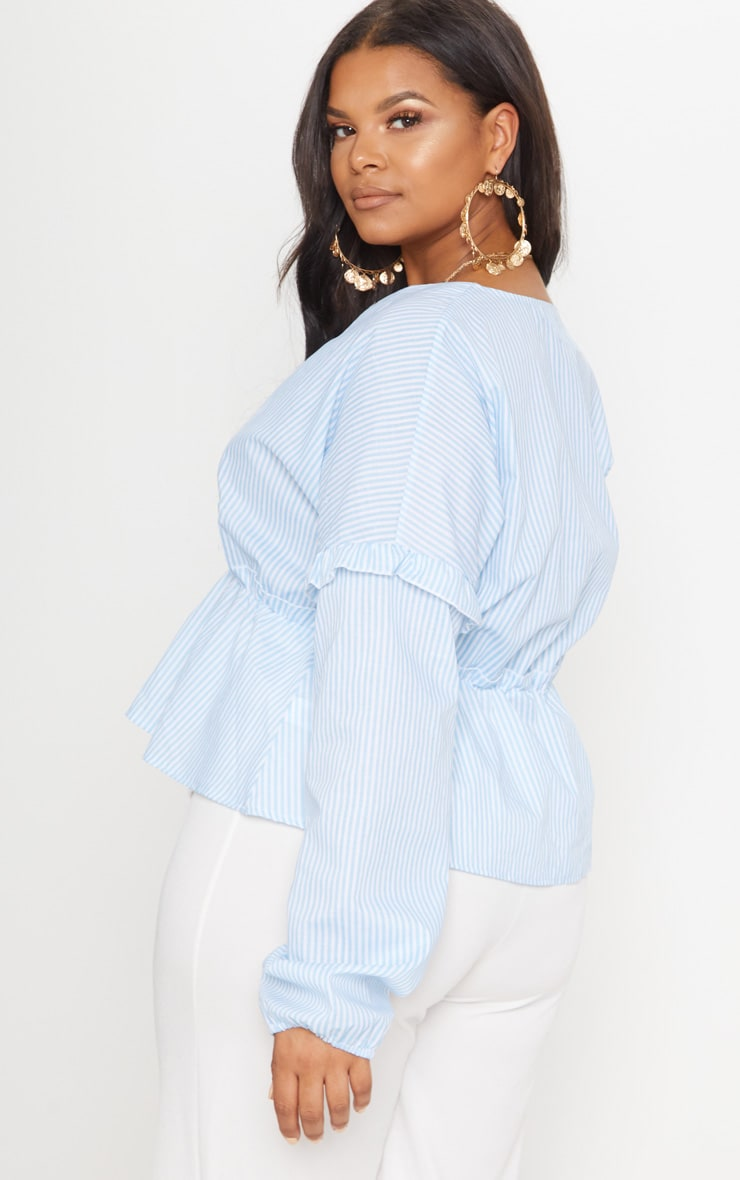 Plus Blue Striped Frill Detail Top 2
