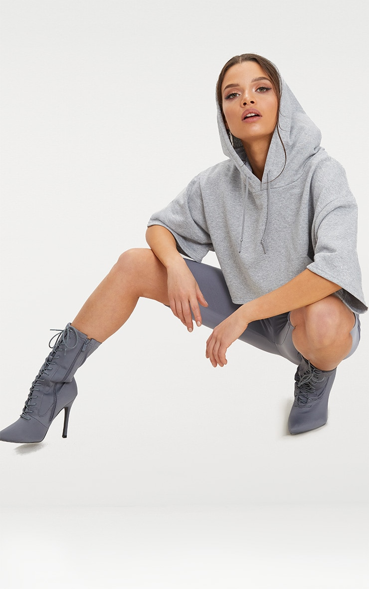 Grey Crop Sweat Hoodie 4